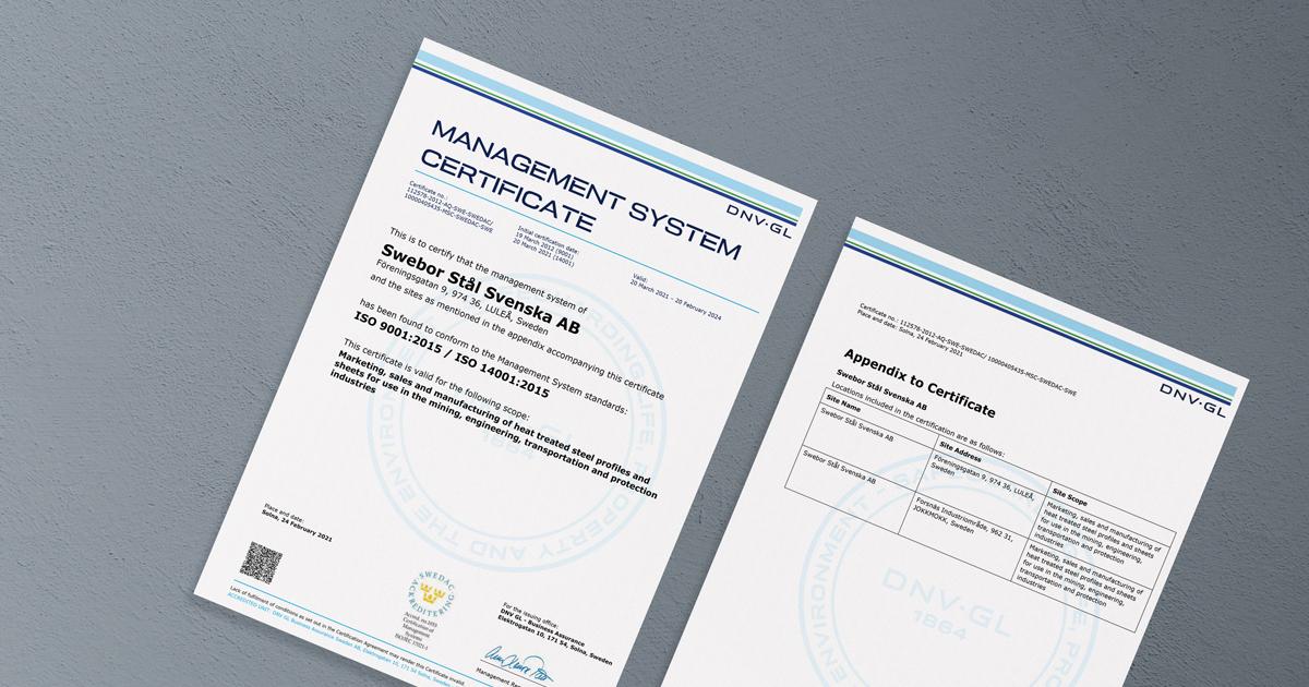 Swebor ISO certificate